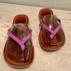 Nike Purple Leather Rubber Sandals Thong Size 7